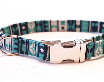 Teal Dog Collar - Aztec Dog Collar - Tribal Dog Collar - Fabric Dog Collar - Male Dog Collar - Unique Dog Collars - Dog Accessories