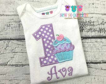1st Birthday Girl Cupcake Outfit - Baby Girl Cupcake Birthday Outfit - Cupcake Birthday Shirt- 1st Birthday Outfit - Purple and aqua ANY AGE