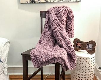 Cozy basket weave knit blanket