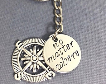 Personalized best friend keychain, friend charm, bff keychain, no matter where bff, initial keychain, custom, monogram, gift for best friend