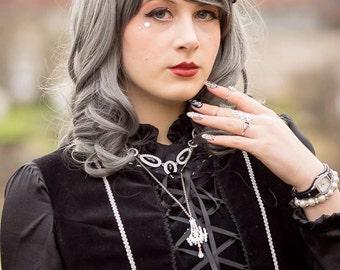 Regal Crown Lolita Medieval Tiara Headband - Silver (MADE TO ORDER)