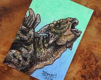 Jurassic World Ankylosaurus Sketch Card