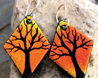 Autumn Tree Hand Etched Dichroic Earrings Fused Glass & Sterling Silver Handmade Wires