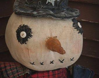 MUSTARD SEED ORIGINALS, Americana, Snowman, Winter, Red, White, Blue, Patriotic, Doll by Primitive Folk Artist Sharon Stevens