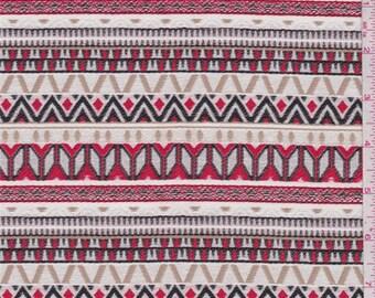Ecru/Red/Tan Stripe Brocade, Fabric By The Yard