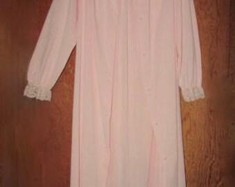 Pink Shadowline Peignoir Set, Vintage Nightgown & Robe, Mid Century Lingerie, 1960s Loungewear, Made in USA, Size Medium M