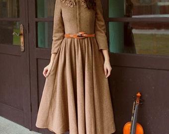 women winter thick dress Ankle long dress Formal dress Evening dress Party dress (WD11155)