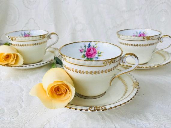 Aynsley Vintage 1930s Teacup Saucer Set Ivory Cream Gold