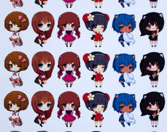 Anime Chibi Girls! Fantasy Stickers, Anime Characters, Erin Condren Planner, Party Stickers, School Stickers,Kawaii Stickers, Chibi Stickers
