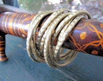 10 Brass Bangle Set, Vintage Interlocking,from India