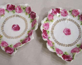 Vintage Pair Bavaria Snack Dishes Pink Rose Border Z S & Co.