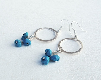 Turquoise birthstone Silver Circle Earrings, Spring fashion accessories, Ocean Blue, Geometric Bridesmaids Bridal Jewelry