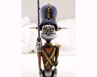 Robot Tin Toy Soldier Steadfast Wood Christmas Sculpture Hans Christian Andersen Homage