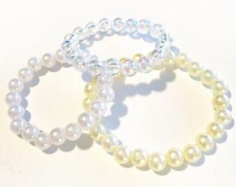 Kids Pearl Bracelet, Baby Pearl Bracelet, Faux Pearl Bracelet, Toddler Pearl Bracelet, Toddler Bracelet, Pearl Flower Girl Bracelet