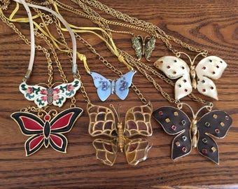 Lot of Ready to Wear and Repurpose Butterfly Necklaces 1063