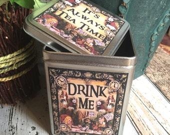 Alice in Wonderland Drink Me Tin. Alice in Wonderland Tea Storage Tin. Alice in Wonderland Tin Box. Storage Tin. Alice Tin. Alice Box.