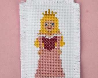 Aurora from Sleeping Beauty Disney Princess Handmade Embroidered Cross Stitch Christmas Ornament or Decoration Personalized