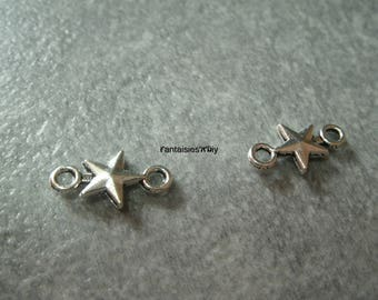 (CON5) Set of 2 connectors in silver metal stars