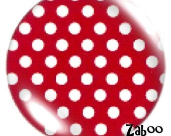 1 cabochon 30mm glass, large red dots