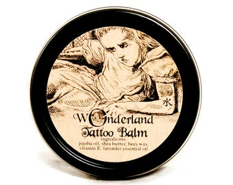 All Natural Tattoo Balm, New Tattoo Salve, Tattoo Conditioner, Tattoo Moisturizer, Alice in Wonderland