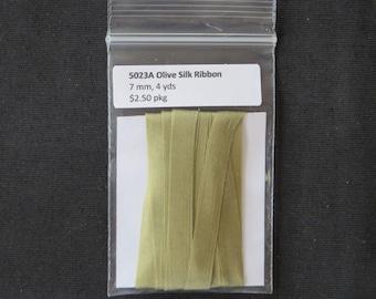 5023A Olive green Silk Ribbon  7mm