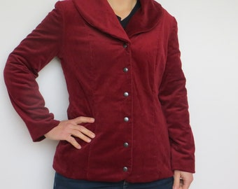 Lady red corduroy jacket