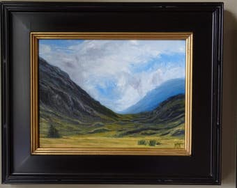 """Mountain Passage Oil Painting - Scottish mountains, golden fields and dramatic clouds in a blue sky 24"""" x 20"""""""