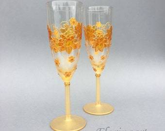 Gold wedding glasses, Wedding flutes, Wine glasses, Hand painted glasses, Gold anniversary glasses