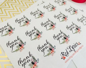 Watercolor/Floral Thank you stickers