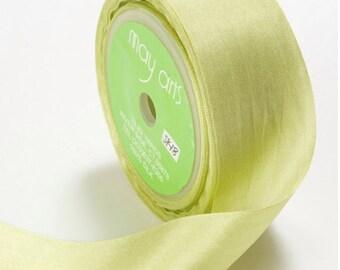3 yds CELERY GREEN Silk Ribbon 1.25 inches wide   cheswickcompany