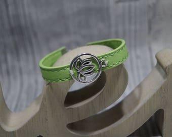 Leather Bracelet Lotus Flower