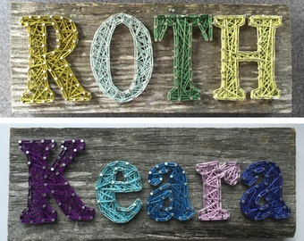 Name String Art (4-5 CHARACTERS) on Barn Wood
