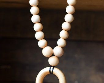Graduated Wood Ring Necklace
