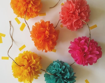 FIESTA FUN mini pompom garland mexican theme luau day of dead baby bridal shower engagment party prop wedding decorations pink orange teal
