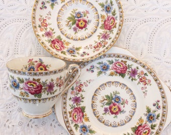 SALE - Royal Grafton bone china trio, cup, saucer abd sude/cake plate. Malvern design