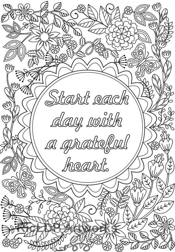 2 Coloring Pages with the message \'Start Each Day with a