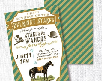 Belmont Stakes Party Invitation, Printable, Horse Race Invite, Triple Crown, Stakes And Wagers, 30th, 40th, 50th, 60th, Birthday, Retirement