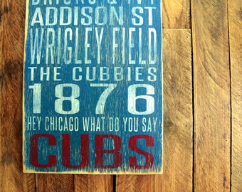 Chicago Cubs Distressed Wood Sign-Great Father's Day Gift!