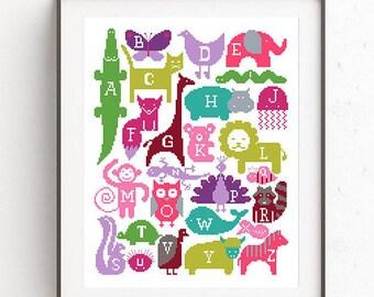 Baby cross stitch pattern Animal embroidery chart Baby shower gift Birthday cross stitch Elephant Giraffe Lion Cat Koala Wild cute animals
