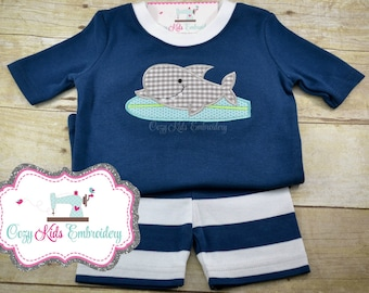Summer Pajamas, Vacation Pajamas, Beach Pajamas, Boy's Pajamas, Shark Pajamas, Custom Pajamas, Embroidery Pajamas, Applique Pajamas
