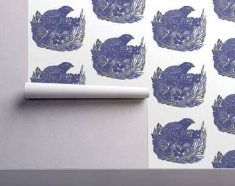 Nesting Bird Blue , Lino Cut Print design wallpaper