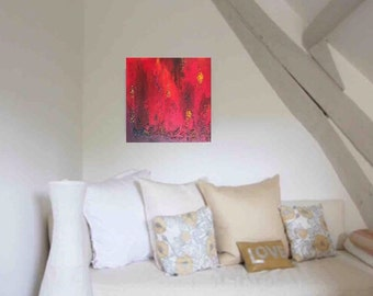 Red Painting, Red Abstract, Art, Contemporary Art, Red Art, Modern Acrylic Canvas, Wall art, Home decor, Wall hanging Title GOLDEN MOMENTS