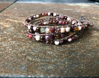 Brown Hemp Beaded Triple Wrap Bracelet, Beaded Bracelet, Hemp Bracelet, Wrap Bracelet, Triple Wrap Bracelet, Bracelet, Hemp Wrap Bracelet