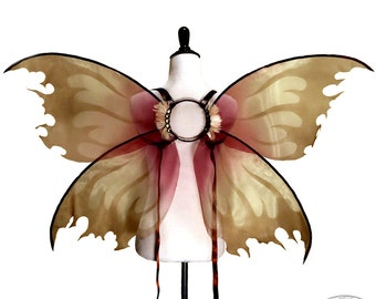 Morrigan No. 22 - Large Organza Fairy Wings in Yellow, Brown and Red