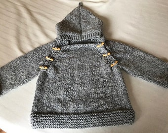 Hand Knit with GG Love!  Blue Denim Hoodie size 12-18 months.