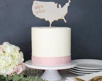 Personalized United States Wedding Cake Topper | Custom Name