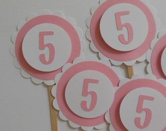5th Birthday Cupcake Toppers - Pink and White - Girl Birthday Party Decorations - Set of 6
