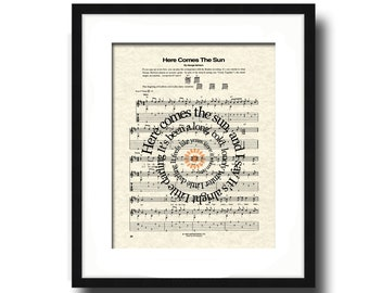 Here Comes The Sun Song Lyric Sheet Music Art Print, Music Art Print, Spiral Words Print, Music Wall Art, Poster Art Print