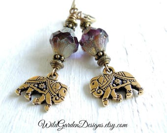 Gold Elephant Earrings Indian Elephant Earrings Czech Glass Dangles Bohemian Style Jewelry Purple Blue Gold Earrings Boho Gift For Her