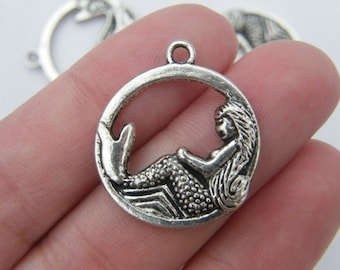 6 Mermaid pendants  antique silver tone SC23